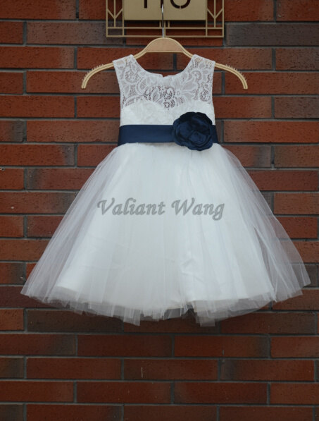 Mariage - Ivory Lace Tulle Flower Girl Dress Wedding Baby Girls Dress Big Navy Sash/Flower Rustic Baby Birthday Dress Knee Length