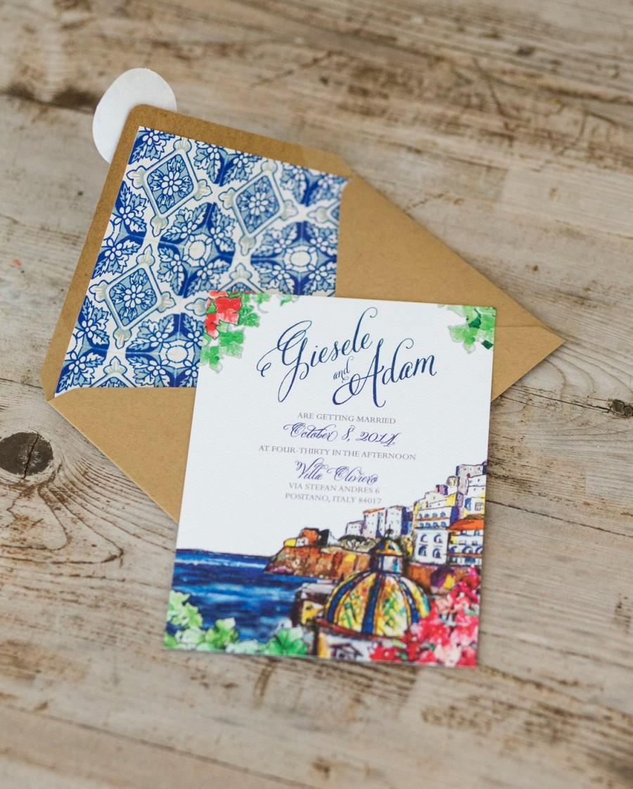 زفاف - Positano Wedding Invitation, Italian Amalfi Coast Wedding