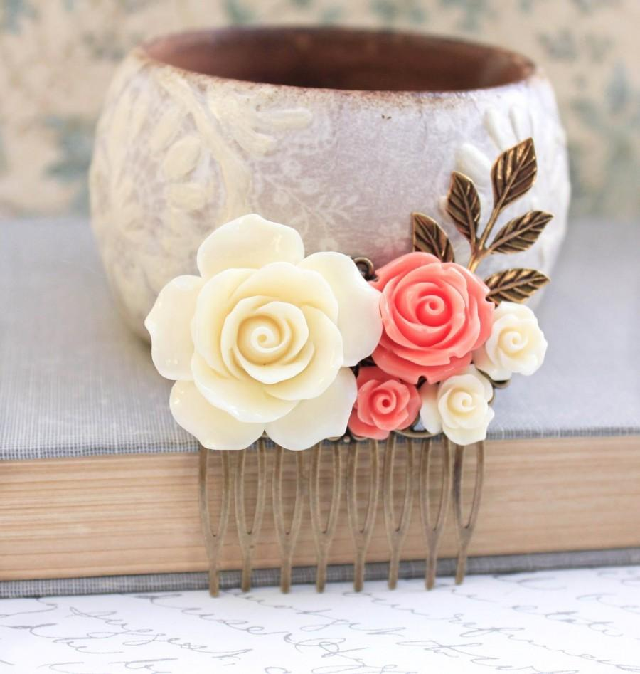 Mariage - Cream Rose Comb Coral Rose Floral Comb Country Wedding Hair Comb Flower Adornment Bridesmaids Hair Accessories Hair Piece Bridal Hair Comb