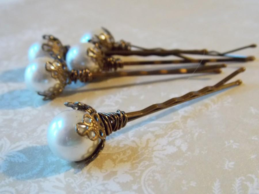 Mariage - Pearl Hair Pins Bridal Hair Accessory Vintage Style Wedding Hair Pins Bridal Accessory Hair Pins For Bridal Updo Gold Wedding Bobby Pins