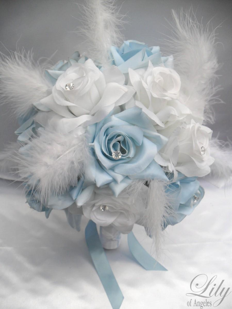 "Wedding - 17 Piece Package Wedding Bridal Bride Maid Of Honor Bridesmaid Bouquet Boutonniere Corsage Silk Flower BABY BLUE ""Lily Of Angeles"" WTBL01"