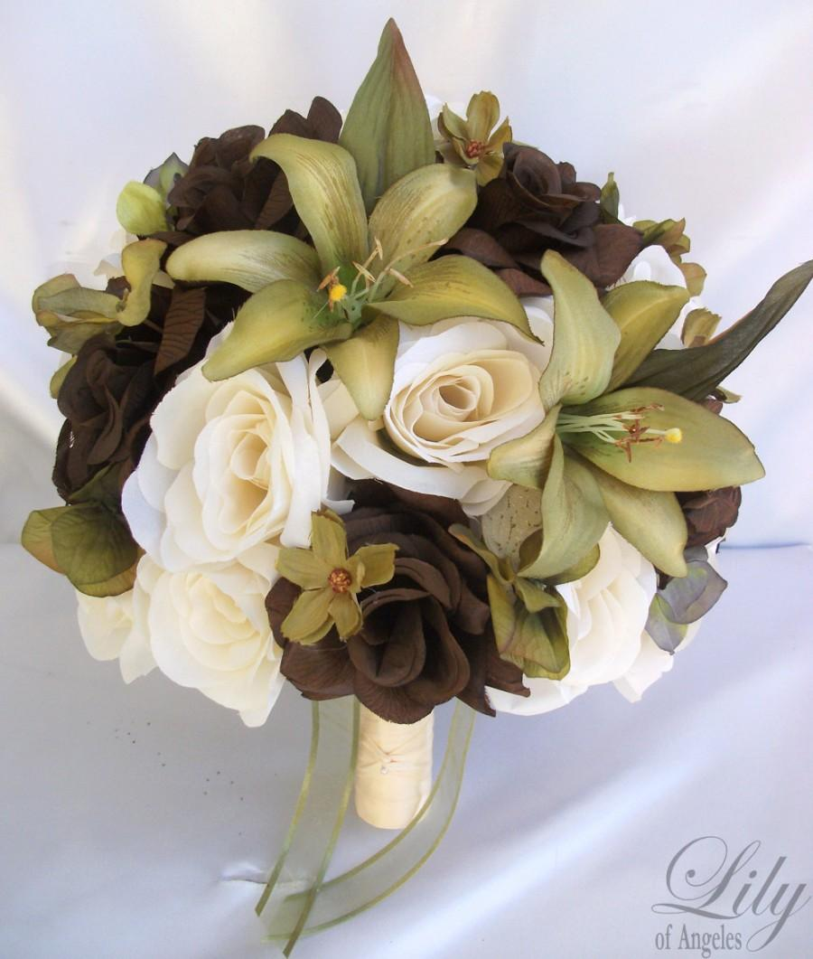 "Mariage - 17 Piece Package Wedding Bridal Bride Maid Of Honor Bridesmaid Bouquet Boutonniere Corsage Silk Flower SAGE GREEN OLIVE ""Lily Of Angeles"""
