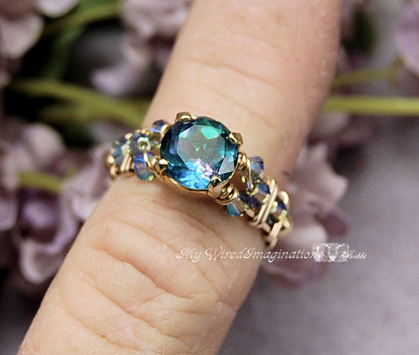Wedding - Mystic Topaz, Peacock Blue, Hand Crafted Wire Wrapped Ring, Genuine Mystic Topaz, Rainbow Mystic Signature Design Fine Jewelry Made To Order