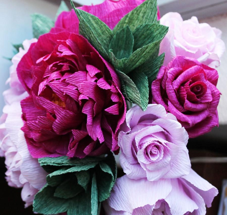 Свадьба - Peonies - Crepe paper peonies - wedding peonies -roses - bridal- crepe paper flowers- wedding bouquet- peonies bouquet-wedding decoration