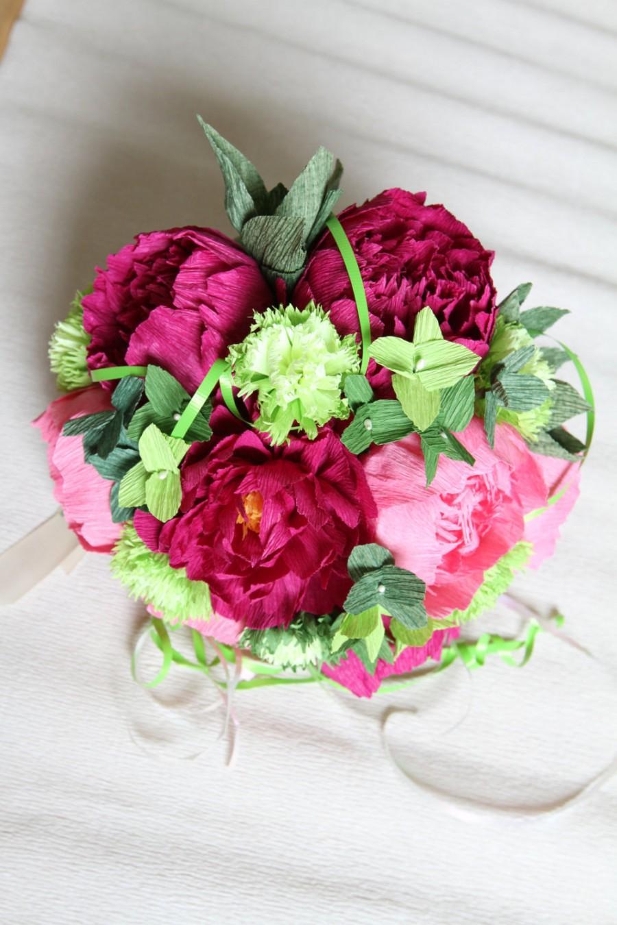 1 Peonies Bouquet Wedding Peonies Roses Bridal Bouquet Crepe