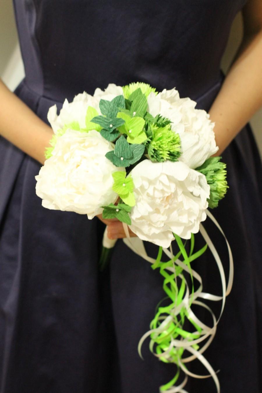 Свадьба - 1 Peonies bouquet -bridesmaid bouquet - bridal bouquet- crepe paper flowers- wedding bouquet- paper peonies-wedding decoration