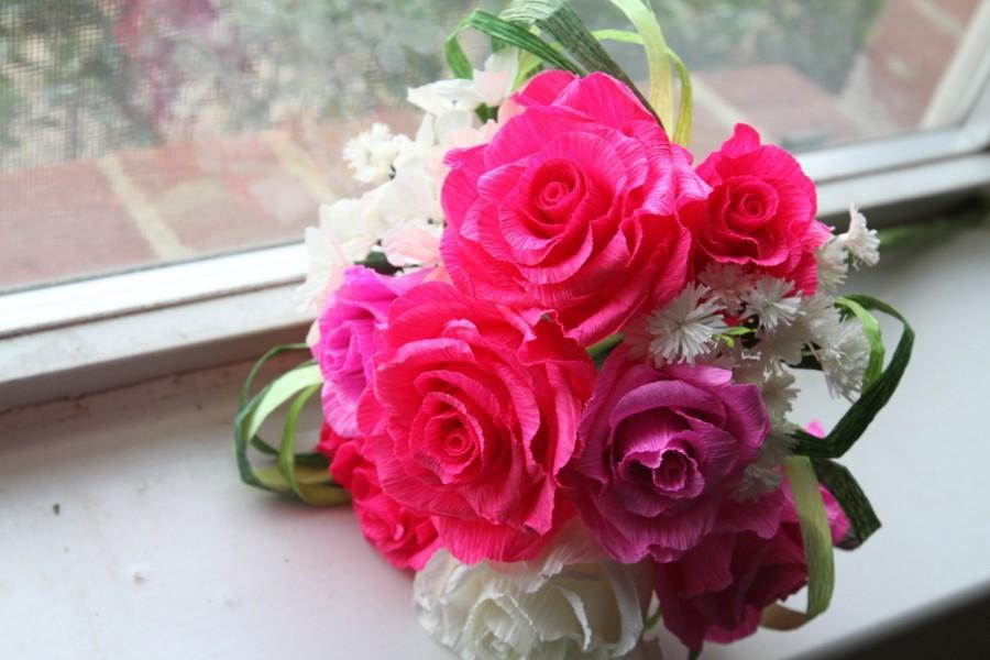 Mariage - wedding roses - crepe paper roses- wedding bouquet- wedding paper flowers- bridal bouquet- bridesmaid bouquet- wedding decoration