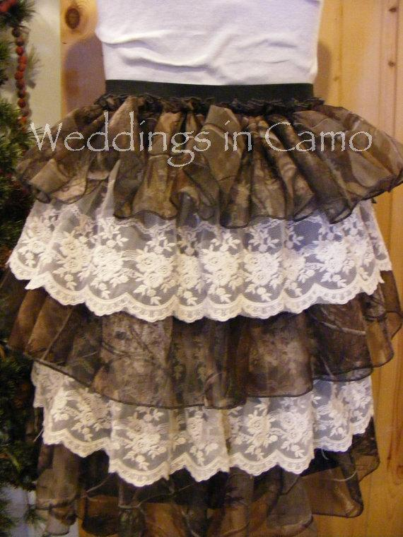 Свадьба - CAMO BRIDESMAID Ruffled Tiered Short Skirt lace and Sheer