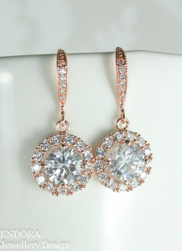 زفاف - Bridal earrings, Rose gold earrings, Rose gold drop earring, Rose gold bridal earrings, Bridal jewelry, Rose gold bridal jewelry,CZ earrings