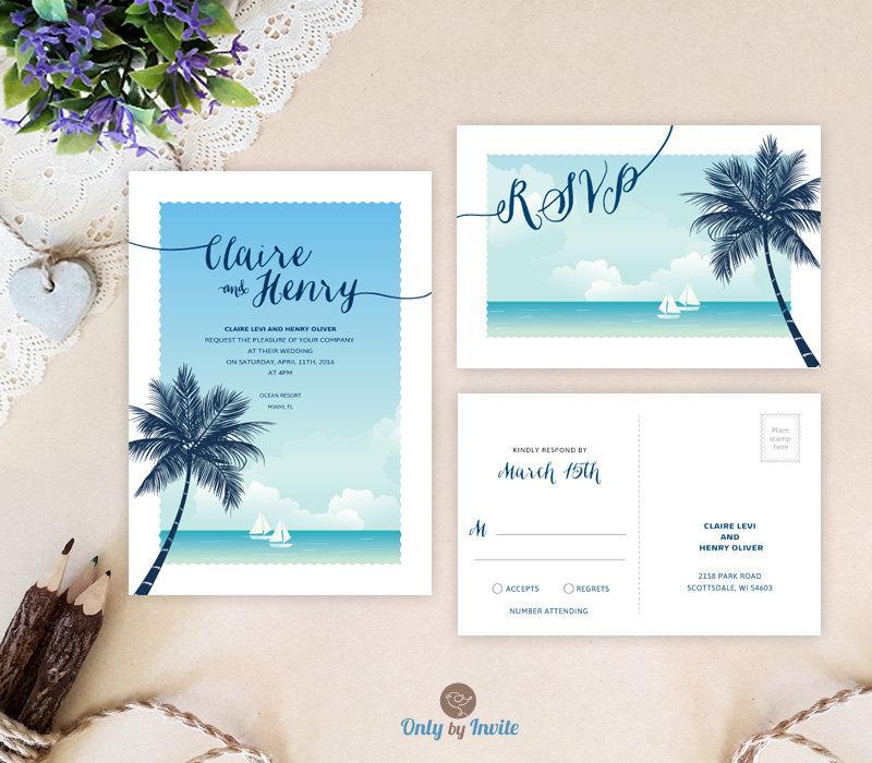 Wedding - Destination wedding invitations with RSVP printed