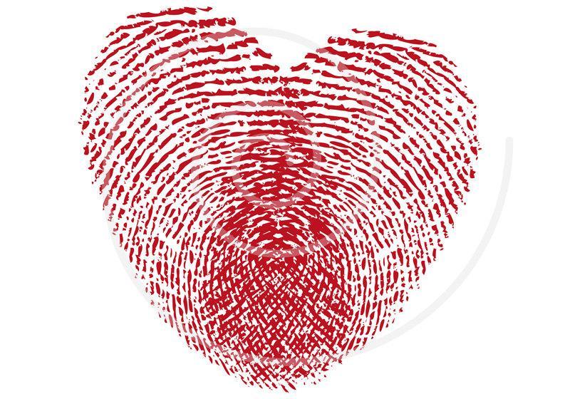 Wedding - Fingerprint heart, heart print, digital clip art for wedding invitation, wedding anniversary, announcement, vector, EPS, instant download