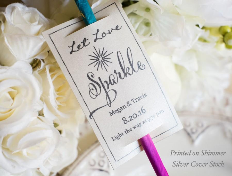 Wedding - Printable Let Love Sparkle Sparkler Tags - DOWNLOAD Instantly - EDITABLE Text - Black, 2 X 3.5,  PDF