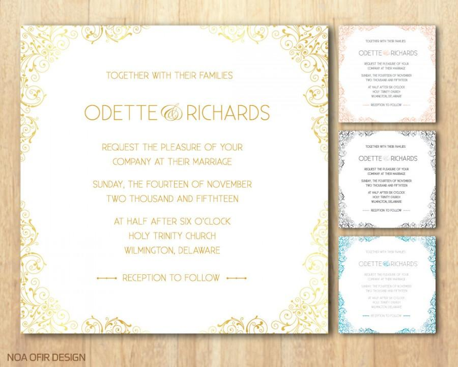 Wedding - Lace Wedding Invitation, Classic Wedding Invitation, Lace Invite, Classic Invite, Printable Wedding Invitation, DIY Wedding Invitation