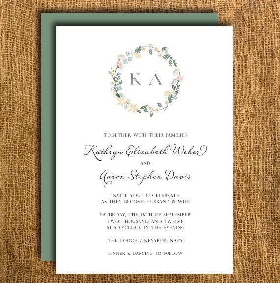 Wedding - Printable Floral Wedding Invitation & Reply Card