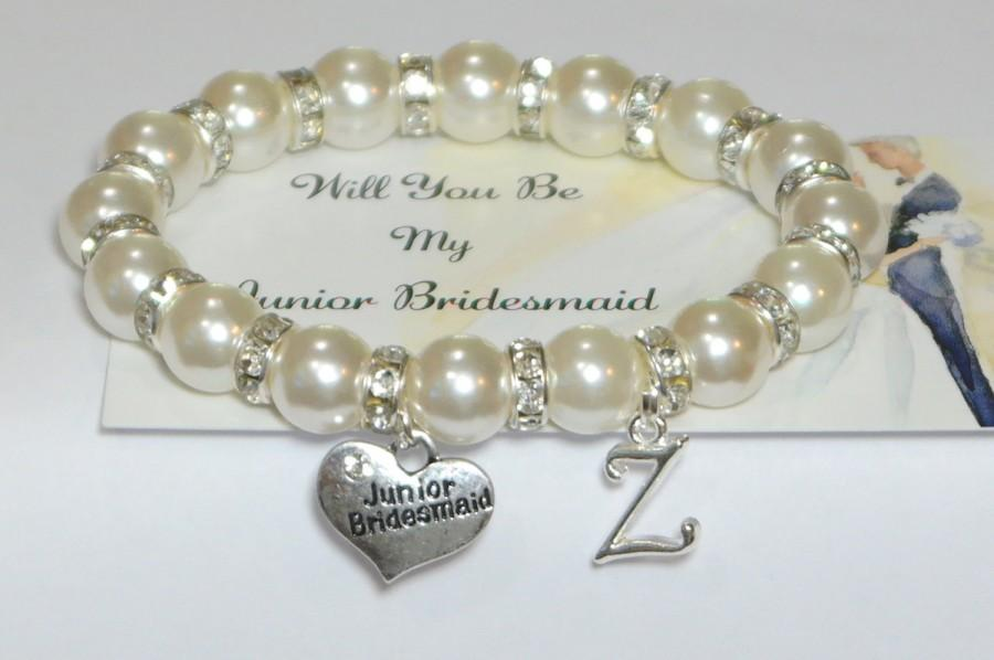 Mariage - my junior bridesmaid  - ask jr bridesmaid - personalized wedding - bridal party gift - bridesmaid bracelet - handmade bracelet