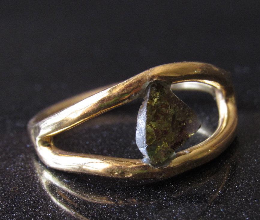 Mariage - Rose Cut Diamond Ring, Diamond Slice Ring, Brown Raw Diamond Engagement Ring, Gold Wedding Band, Sterling Silver Ring, Statement Ring