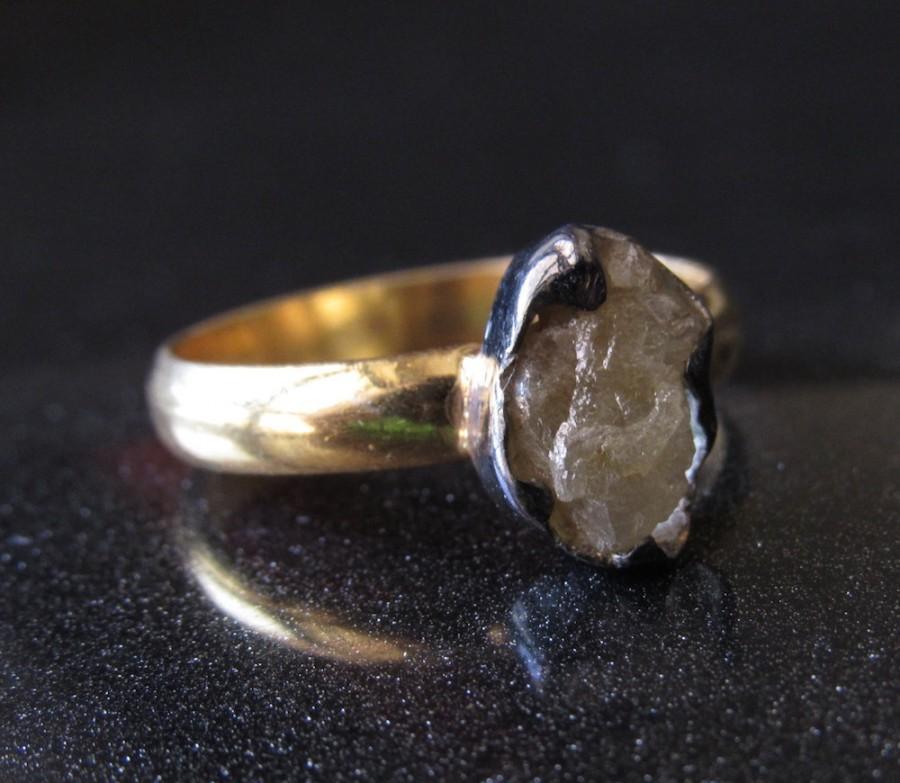 Mariage - Yellow Diamond Slice Ring, Raw Diamond Engagement Ring, Wedding Band, Sterling Silver Ring, Uncut Diamond Ring, Statement Ring