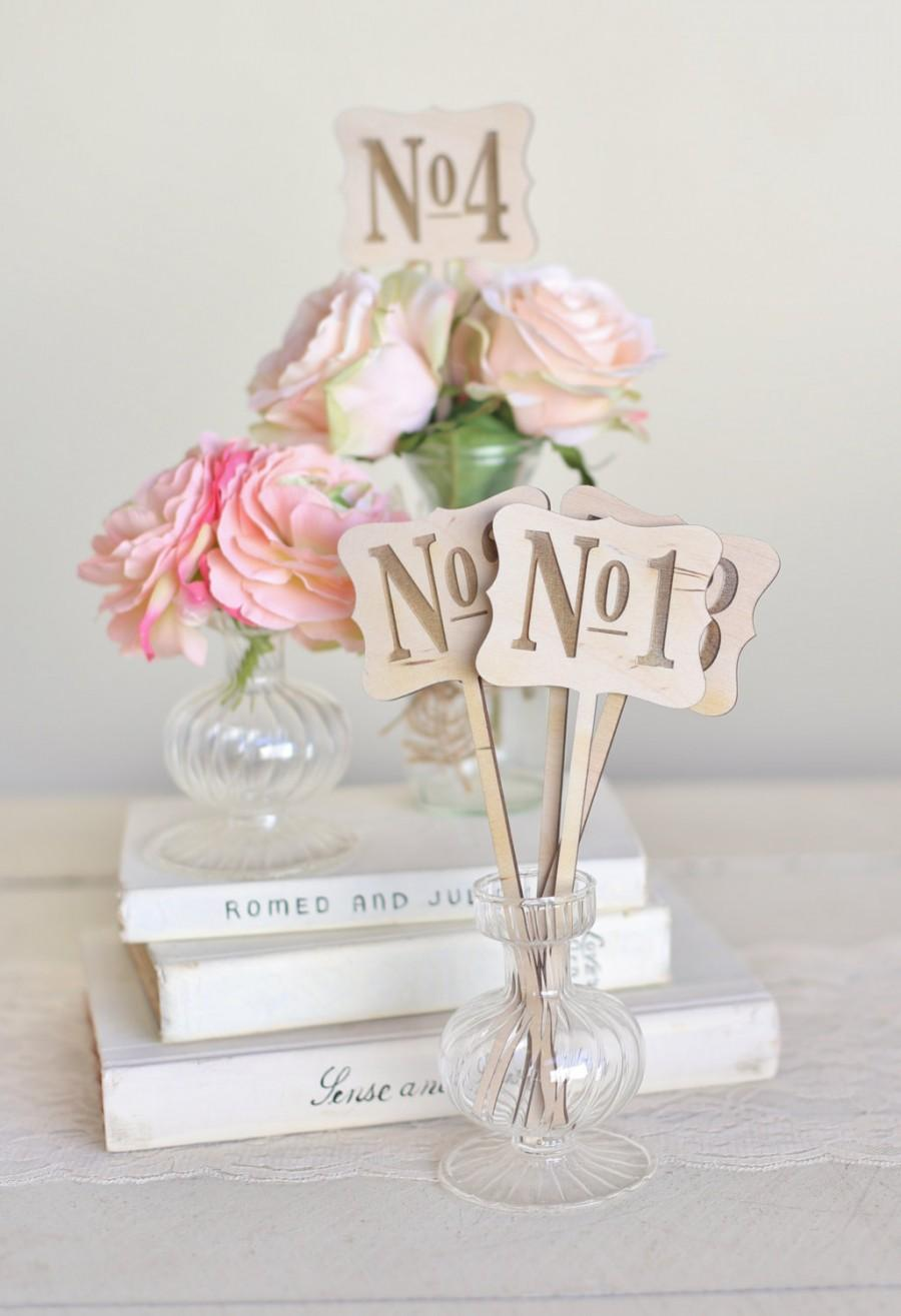 زفاف - Rustic Wood Table Numbers Vintage Inspired Wedding by Morgann Hill Designs
