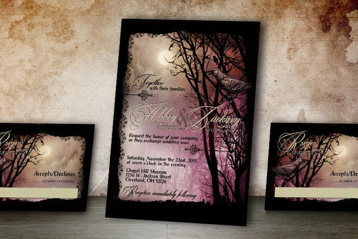 Wedding - Halloween Wedding Invitation and RSVP Spooky wedding stationery for the goth or halloween bride! Digital Printable or Printed