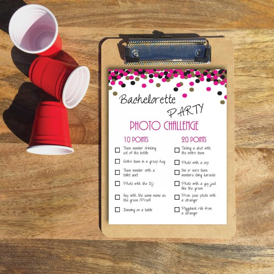 Wedding - Instant Download / PDF: Bachelorette Party Game- Photo Challenge