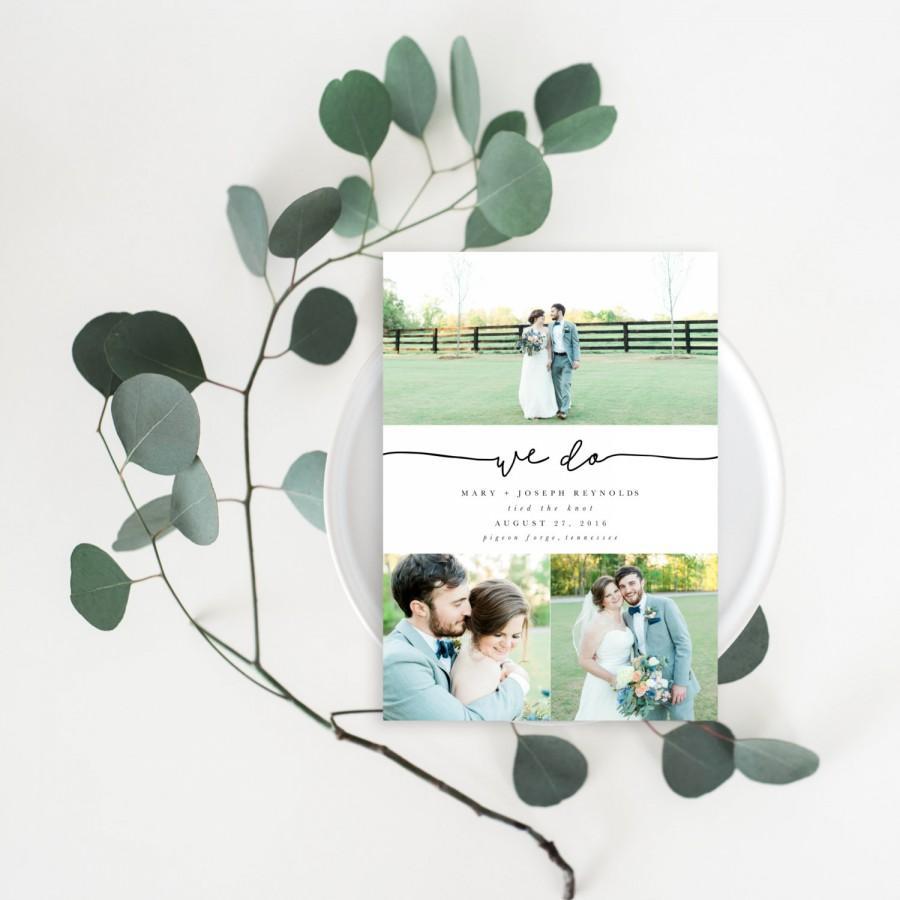 Wedding - We Do Wedding Announcement Card - Photo Card Template - Printable Wedding Announcement - Elopement Announcement Card (006)