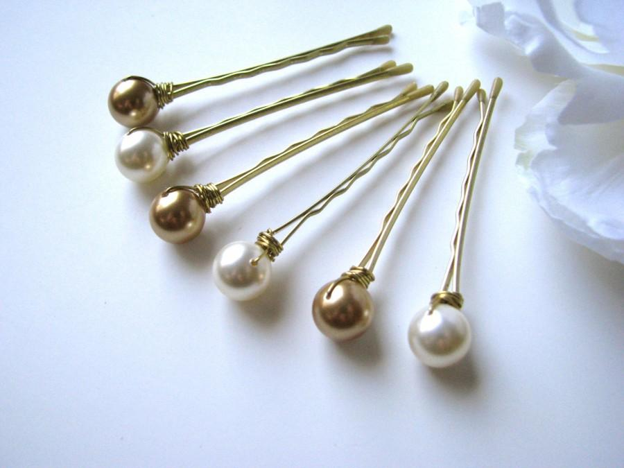 Mariage - Gold and Ivory Hair Pin Pearl Set Swarovski