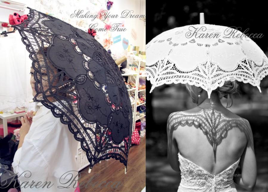 Свадьба - Special Offer Black Battenburg Lace Vintage Umbrella Parasol For Bridal Bridesmaid Wedding