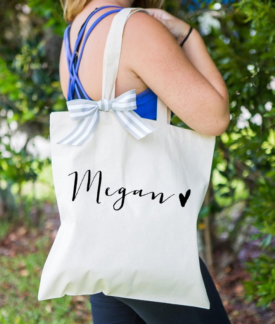 Hochzeit - Personalized Bag Gift for Bridesmaids, Tote Bags Canvas w/Striped Ribbon Gift for Wedding Bridal Party, Birthday Gift ( Item - BPN300)
