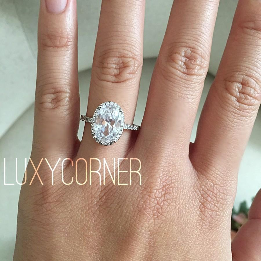 Oval Halo Engagement Ring Oval Engagement Ring Wedding Ring Promise Ring