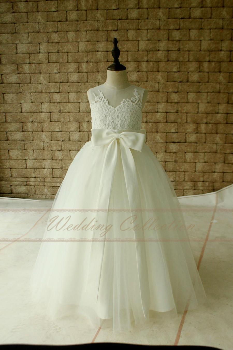 Свадьба - Ivory Lace Flower Girl Dress Floor Length with Ivory Sash and Bow Birthday Party Dress