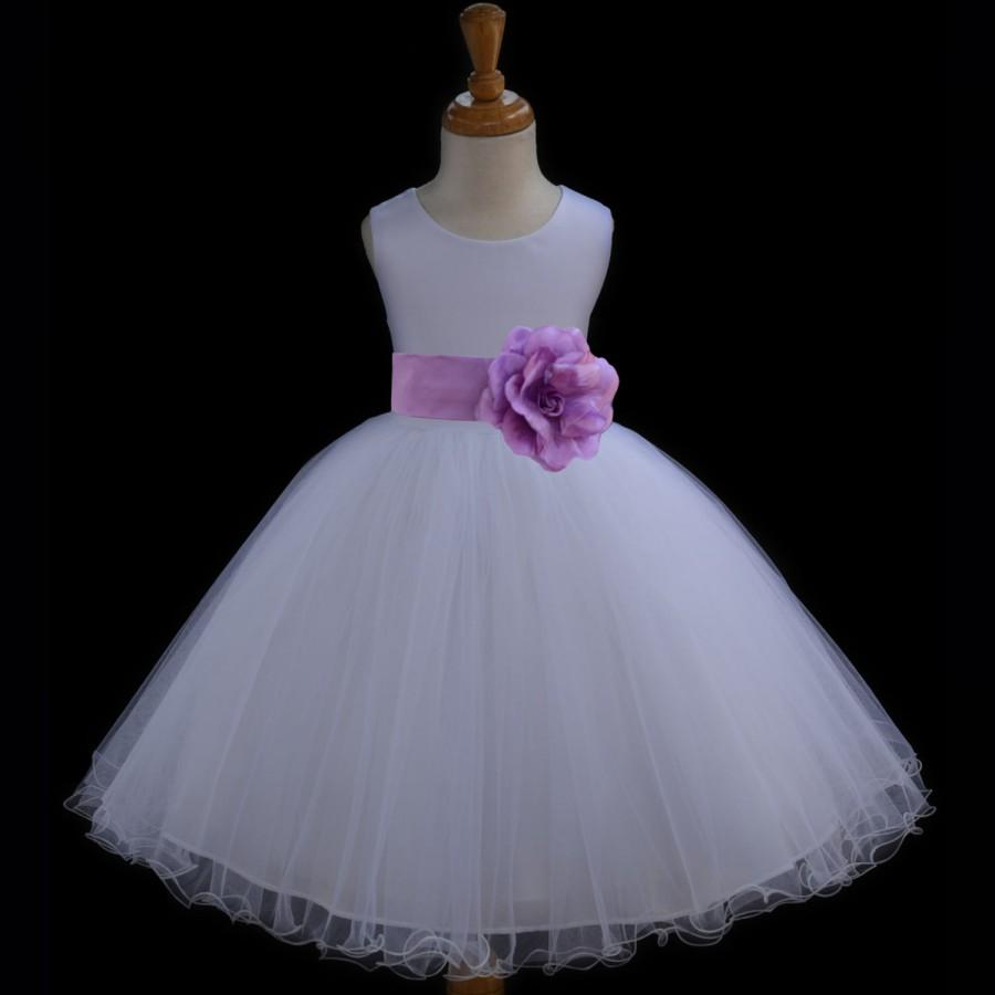 Düğün - White Flower Girl dress tie sash pageant wedding bridal recital children tulle bridesmaid toddler 37 sashes sizes 12-18m 2 4 6 8 10 12