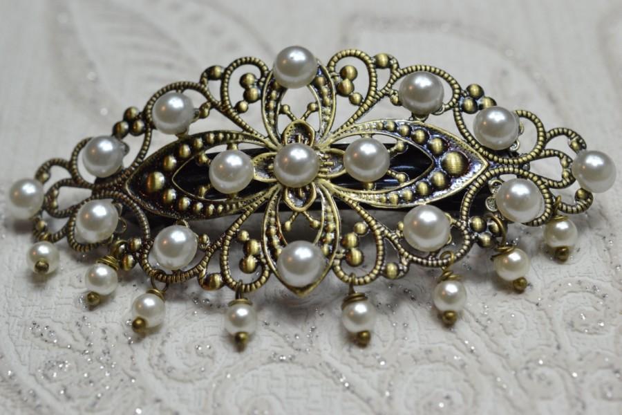 Wedding - Hair Barrette Vintage Victorian Style Filigree Pearl hair Barrette Hair clip Bridal Wedding Bridesmaid