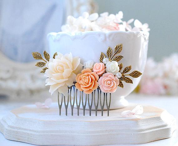 زفاف - Peach Wedding Hair Comb, Blush Wedding Bridal Hairpiece, Ivory Peach Flower Hair Accessory, Bridal Party Gift, Garden Wedding Large Comb
