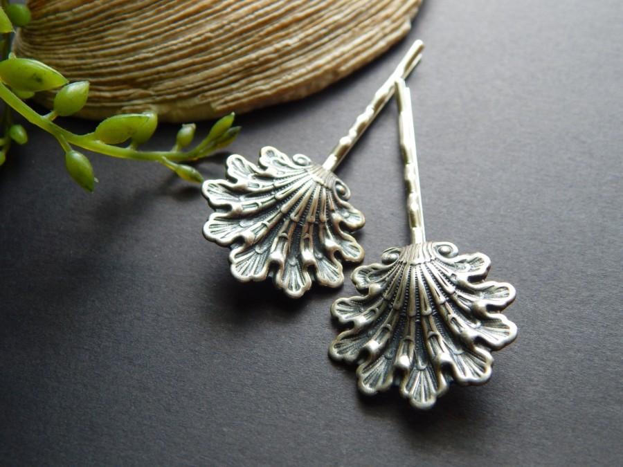 Wedding - Beautiful Seashell Hair Pins Nautical Hair Accessories Boho Beach Hair Pins Bohemian Hair Pin Silver Hair Pins Fun Summer Hair Accessory