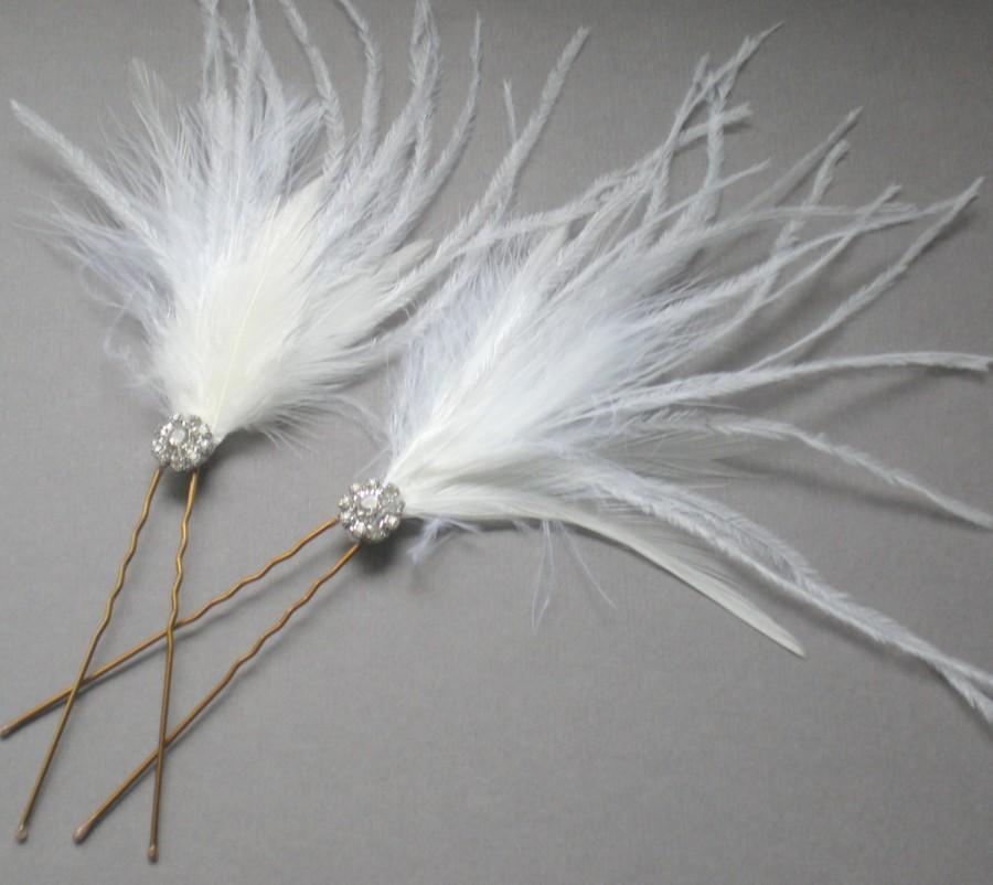 Wedding - SET 2. Elegant Ostrich Feather Fascinator Comb. Rhinestone Hair Pin. GIFT prom