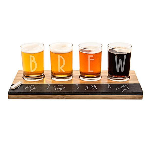 Mariage - Personalized Bamboo & Chalkboard Beer Tasting Flight