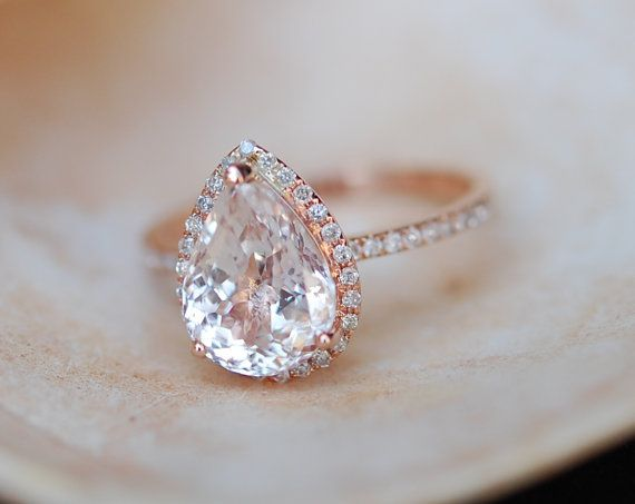 Mariage - Engagement Ring Peach Champagne Sapphire Engagement Ring 14k Rose Gold 4.3ct, Pear Cut Peach Sapphire Ring. Engagement Ring By Eidelprecious