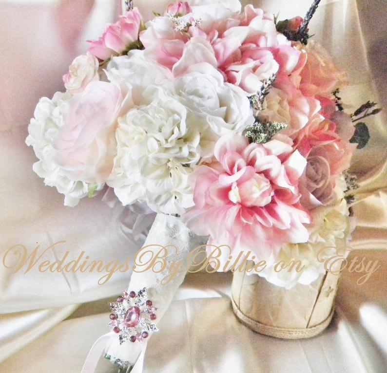 Mariage - Silk Bride Bouquet White Cream Pale Pink Roses Cream Hydrangea Wildflowers Natural Bouquet Shabby Chic Vintage Inspired Rustic Wedding