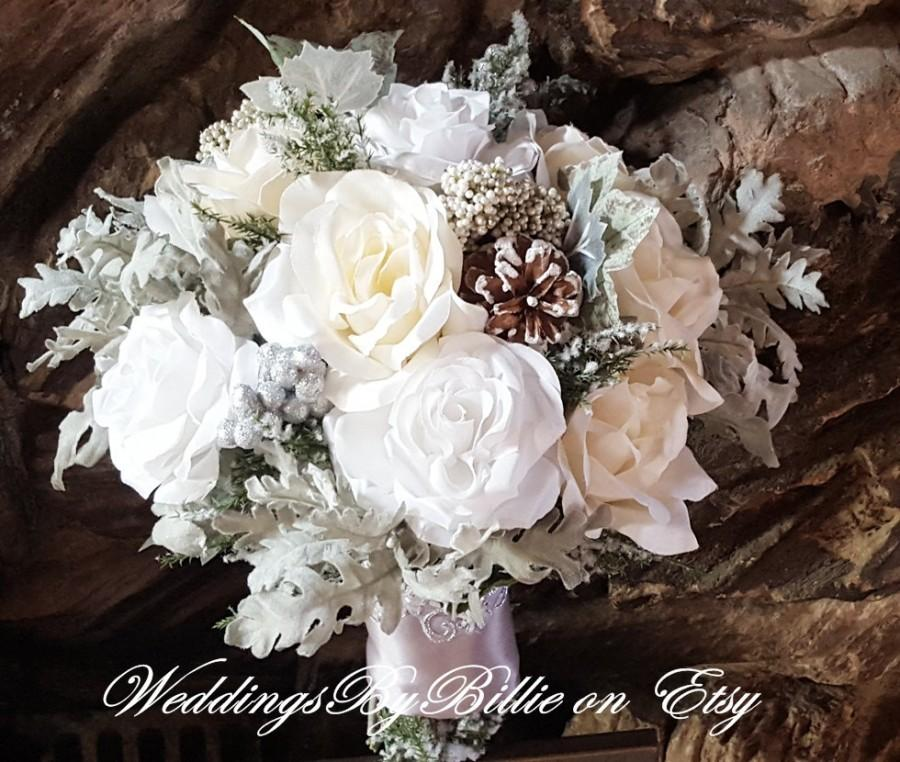 Winter Wedding Bouquet Silver White Ivory Pine Cones Hand Tied