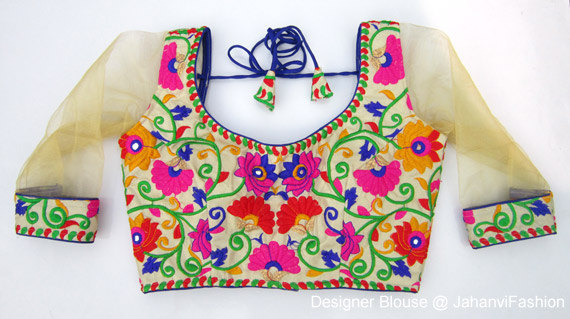 Свадьба - Colorful Embroidery Blouse with net sleeves - Sari Blouse - Saree Blouse - Sari Top - For Women - Designer saree Blouse - Designer Blouse