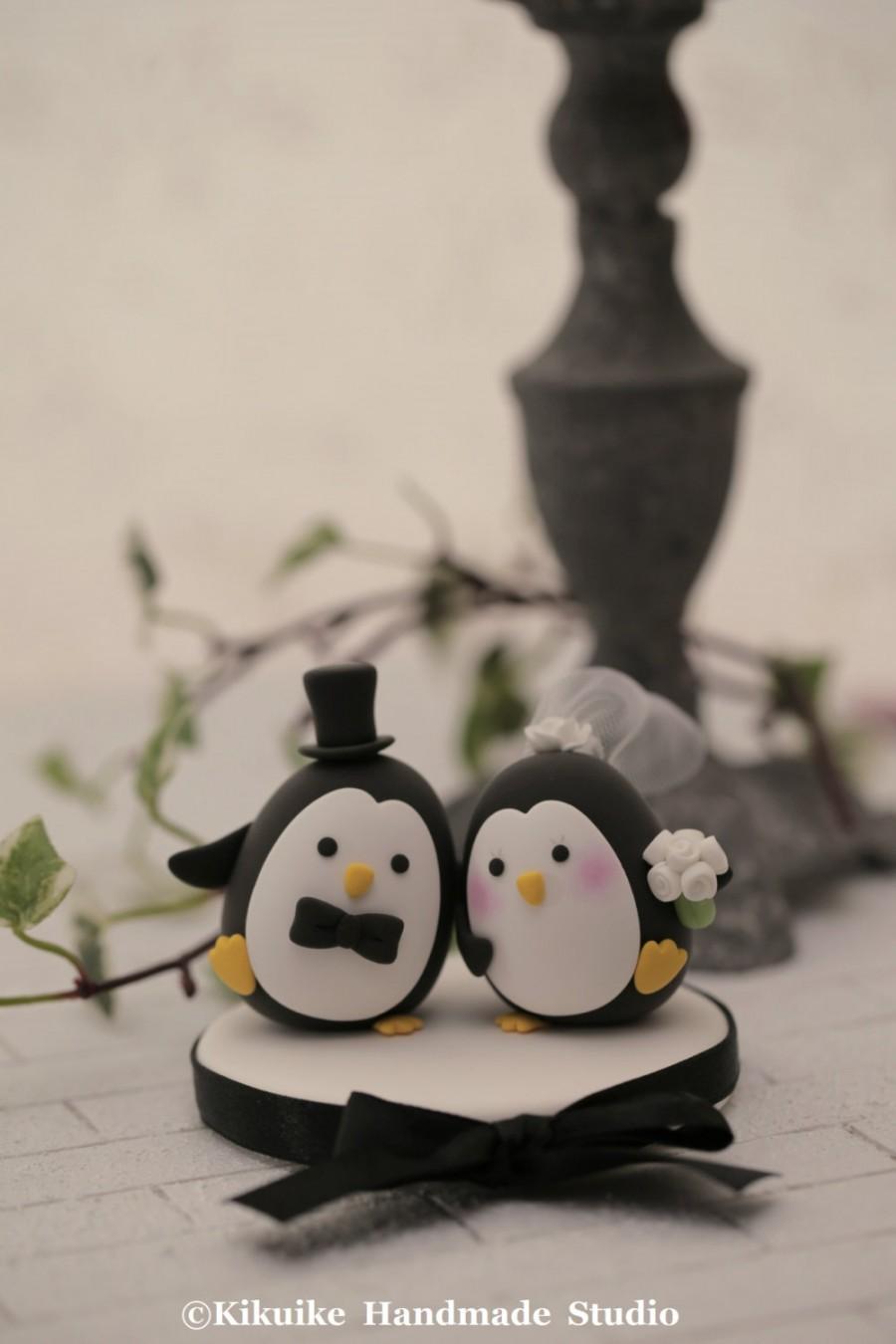 Wedding - Penguins wedding cake topper (K452)