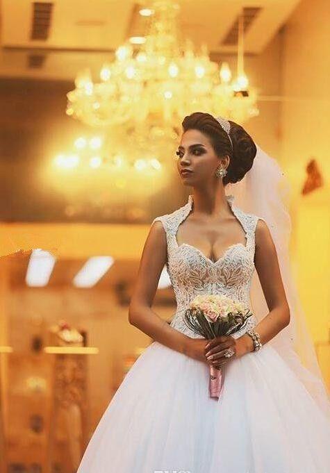 زفاف - Sweetheart Sleeveless Appliques Tulle Wedding Dress
