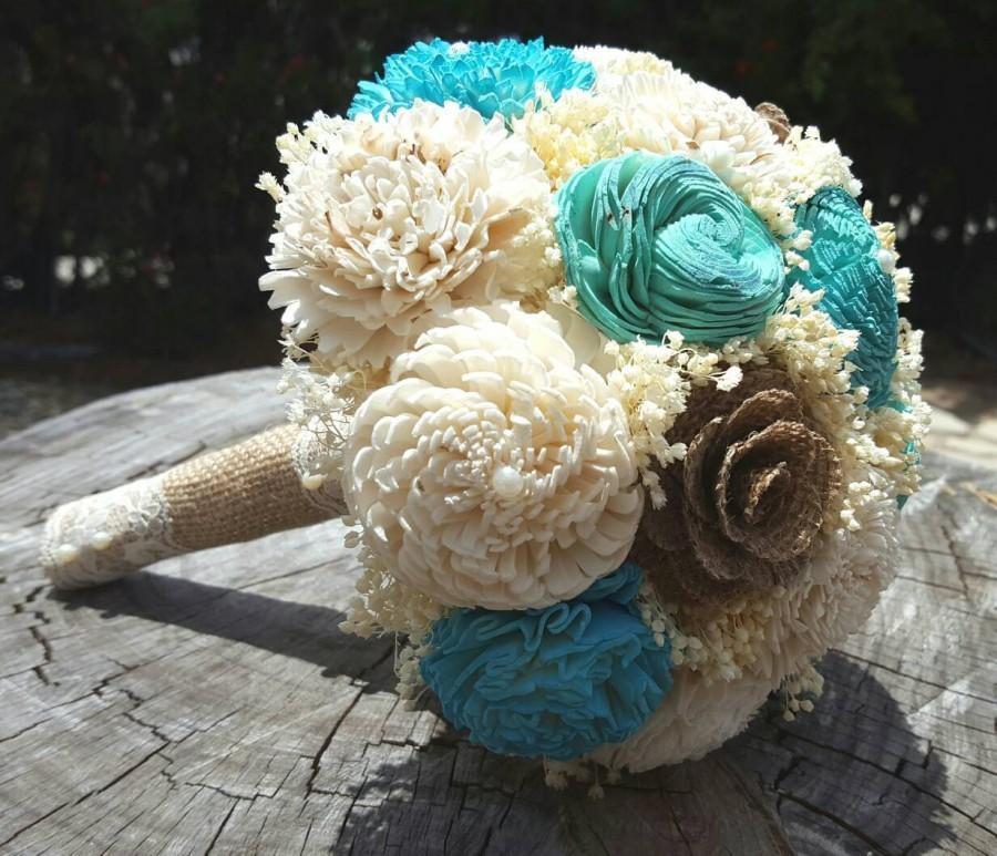 Hochzeit - Sola Bouquets, Burlap Lace, Blue, Pale Turquoise Bouquet, Wedding Flowers, Rustic Shabby Chic,Bridal Accessories, Keepsake Bouquet