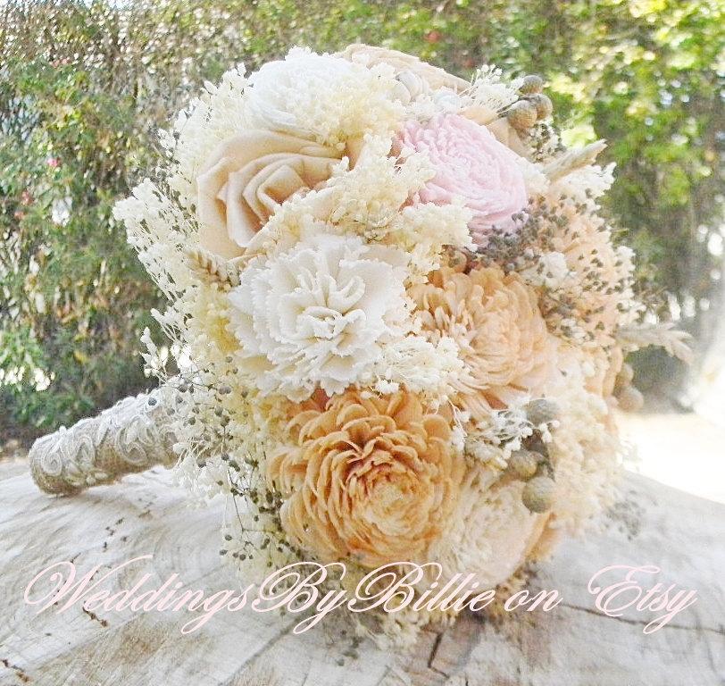 Hochzeit - Weddings, Fall Bouquets, Sola Bouquet, Champagne Blush Bouquet, Alternative Bouquet,Rustic Shabby Chic ,Bridal Accessories,Keepsake Bouquet