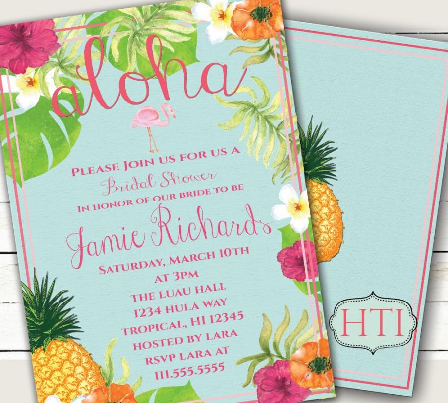 image about Printable Luau Invitations called Luau Invitation-Aloha Luau Bridal Shower-Hawaii Invitation