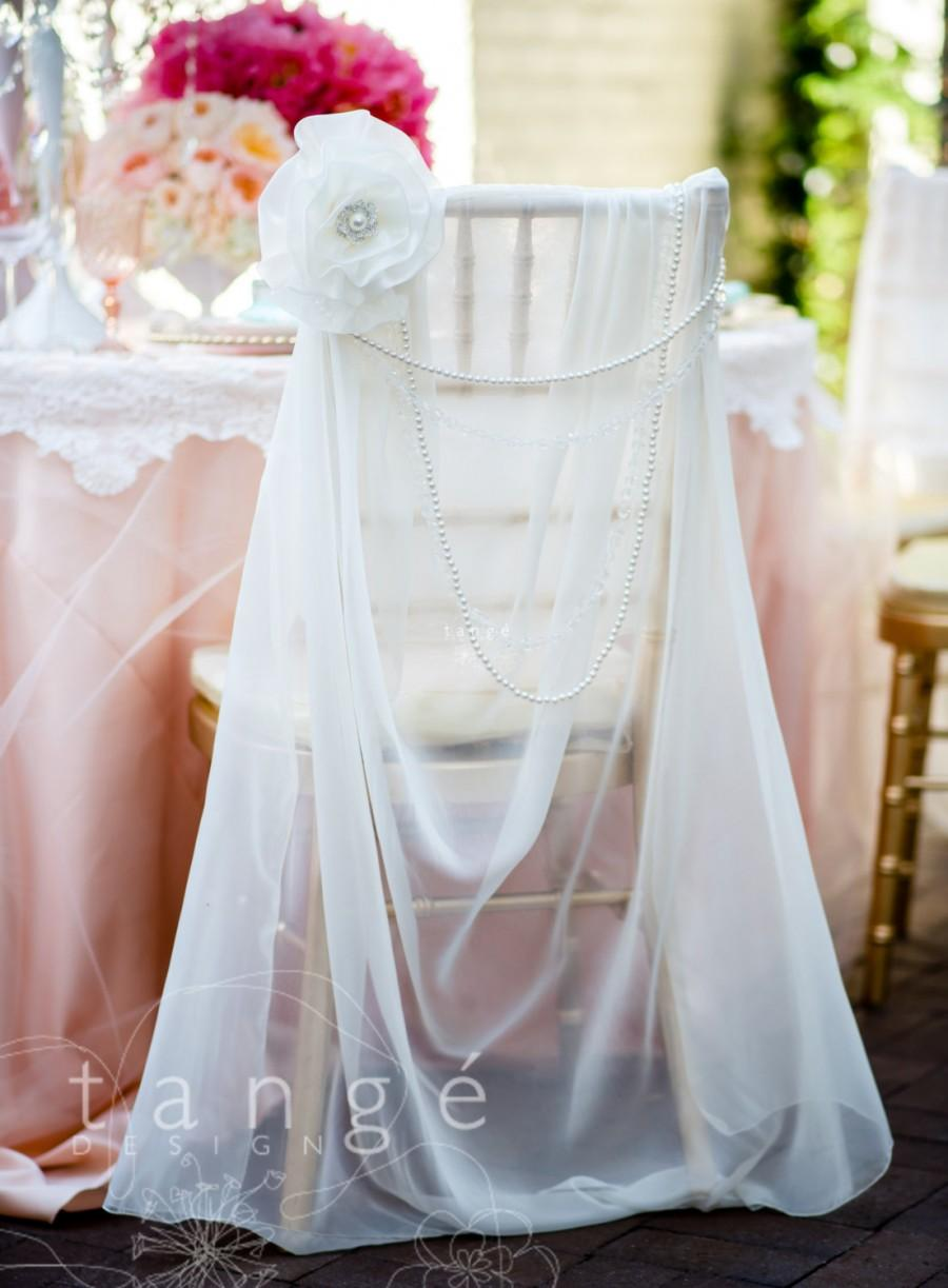 Fantastic Lovely Ivory Chiffon Chiavari Chair Cover With Pearl Brooch Machost Co Dining Chair Design Ideas Machostcouk