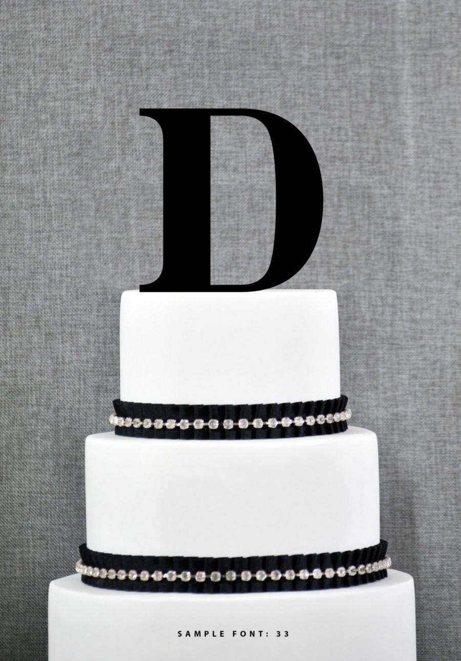 Wedding - Letter D - Initial Cake Topper, Monogram Wedding Cake Topper, Custom Cake Topper