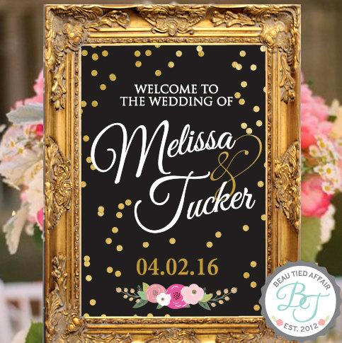 Gold Confetti BLACK Wedding Welcome Sign • Gold Wedding Decor ...