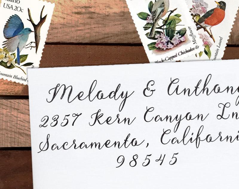 زفاف - Custom Address Stamp, Personalized Address Stamp, Calligraphy Stamp, DIY, Romantic Wedding Address Stamp, Eco Mount or Self Inking - Melody