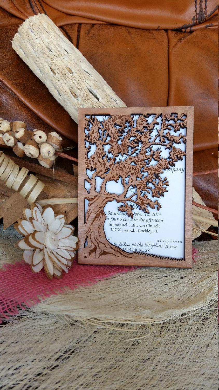 Tree Of Life Wedding Invitation Wood Wedding Invitation